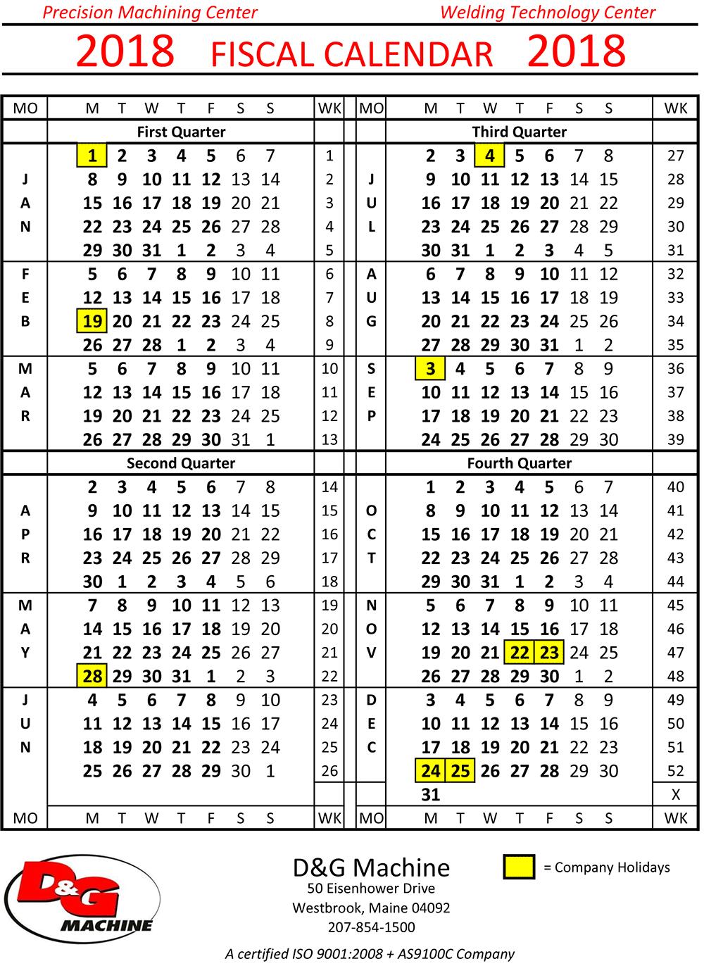 2018 fiscal calendar